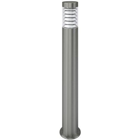 vidaXL Lámpara de poste de jardín acero inoxidable - Plateado
