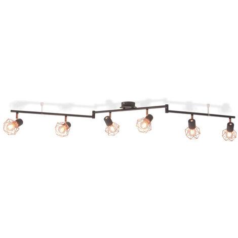 vidaXL Lampara de techo con 6 focos E14 negra y cobre