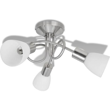 "main image of ""vidaXL Lámpara de techo con pantallas de cristal para 3 bombillas E14 - Blanco"""