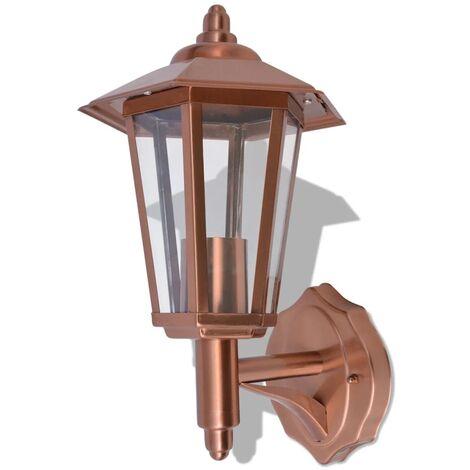 vidaXL Lámpara farol de pared para exterior acero inoxidable color cobre - Marrón