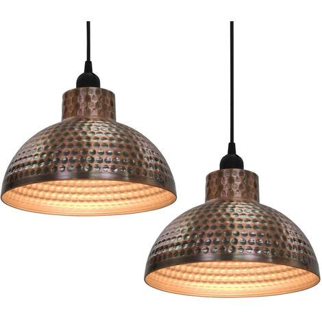 vidaXL lamparas colgantes de techo semiesfericas color cobre 2 uds