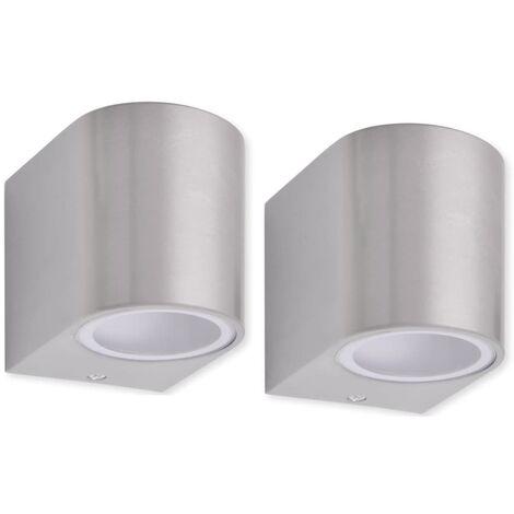 vidaXL Lámparas de pared para exteriores 2 piezas - Plateado