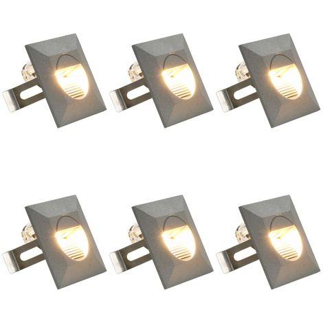 vidaXL Lamparas LED de pared de jardin 6 unidades cuadrada plateada 5W