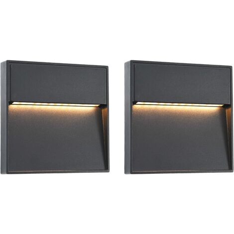 """main image of """"vidaXL Lámparas LED de pared para jardín 2 unidades cuadrada negra 3 W - Negro"""""""