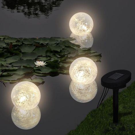 VidaXL Lamparas solares flotantes para piscina, con LED, 3 unidades
