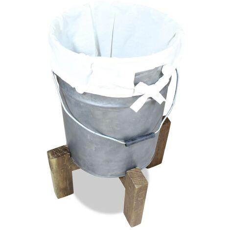 Laundry Basket Galvanised Iron Solid Reclaimed Wood 30x30x58 cm