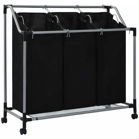 vidaXL Laundry Sorter with 3 Bags Black Steel - Black