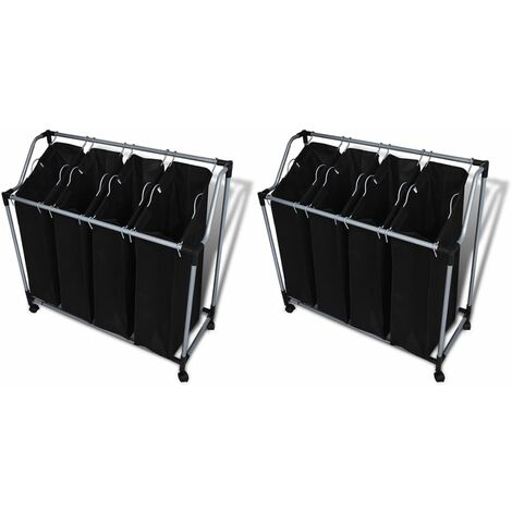 vidaXL Laundry Sorters with Bags 2 pcs Black and Grey - Black