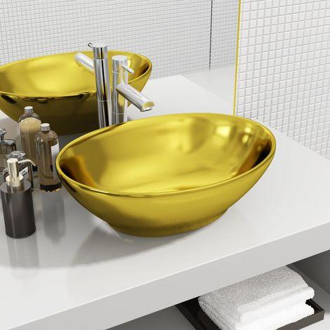 vidaXL Lavabo 40x33x13,5 cm ceramica dorado