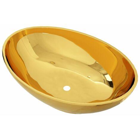 "main image of ""vidaXL Lavabo 40x33x13,5 cm cerámica dorado - Oro"""