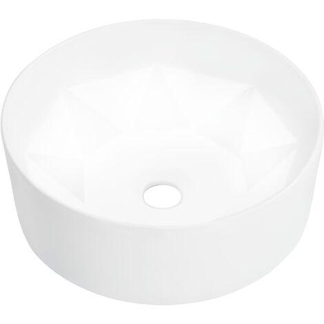 vidaXL Lavabo Céramique Vasque à Poser Salle d'Eau Lave-Mains Blanc/Noir