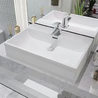 vidaXL Lavabo con orificio para grifo ceramica 60,5x42,5x14,5 cm blanco