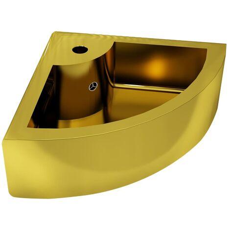 """main image of """"vidaXL Lavabo con rebosadero 45x32x12,5 cm cerámica dorado - Oro"""""""