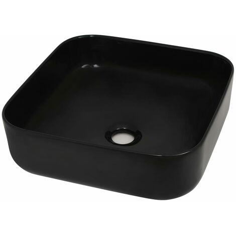 vidaXL Lavabo cuadrado de cerámica negro 38x38x13,5 cm - Negro