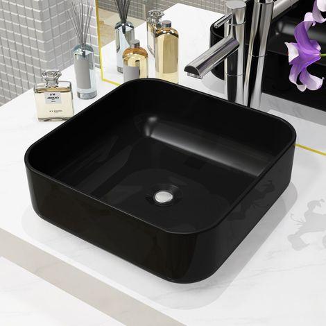 vidaXL Lavabo cuadrado de cer¨¢mica negro 38x38x13,5 cm