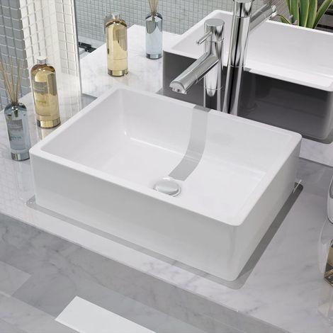 VidaXL Lavabo de ceramica 41x30x12 cm blanco