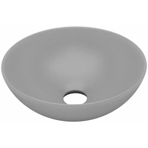 vidaXL Lavabo de cuarto de baño redondo cerámica gris claro - Gris