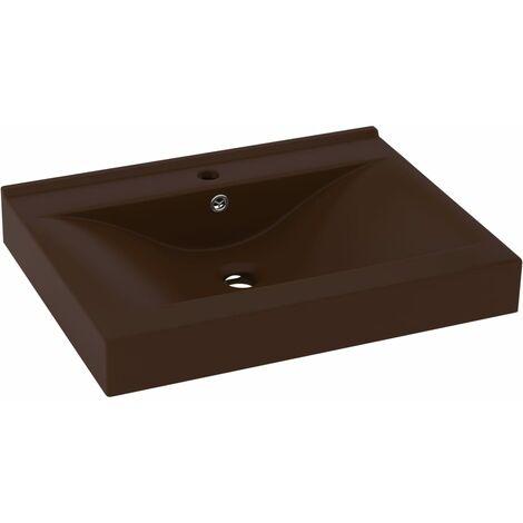 """main image of """"vidaXL Lavabo de lujo agujero de grifo cerámica marrón oscuro 60x46 cm - Marrón"""""""