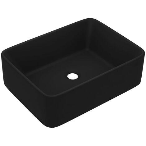 vidaXL Lavabo de lujo de cerámica negro mate 41x30x12 cm - Negro