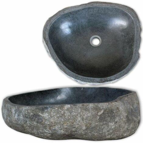vidaXL Lavabo en pierre de rivière Ovale 46-52 cm Vasque Lave Main pour salle de bain