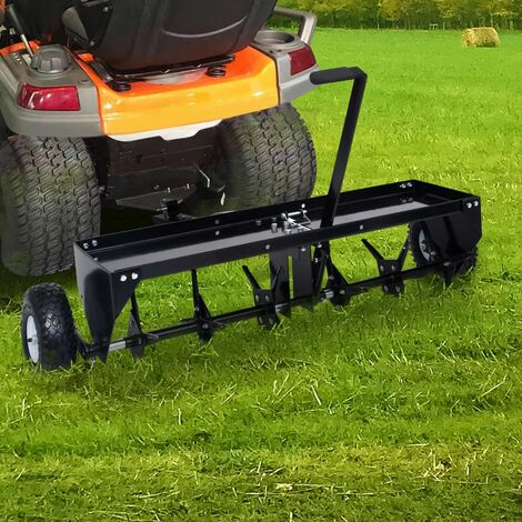 vidaXL Lawn Aerator for Ride-on Mower 102 cm - Black