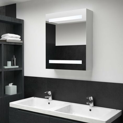 "main image of ""vidaXL LED Bathroom Mirror Cabinet 50x13.5x60 cm - White"""