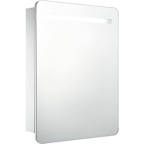 vidaXL LED Bathroom Mirror Cabinet 60x11x80 cm - White