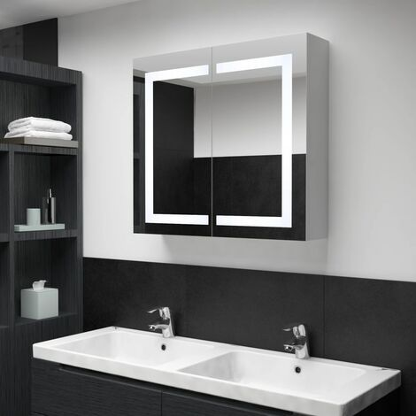 vidaXL LED Bathroom Mirror Cabinet 80x12.2x68 cm