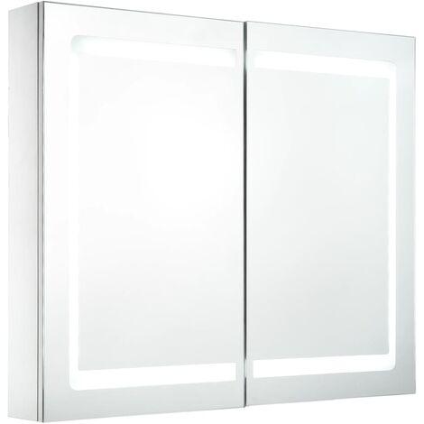 vidaXL LED Bathroom Mirror Cabinet 80x12.2x68 cm - White