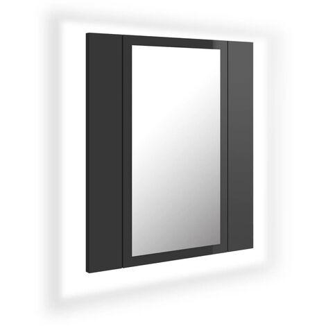 vidaXL LED Bathroom Mirror Cabinet High Gloss Grey 40x12x45 cm - Grey