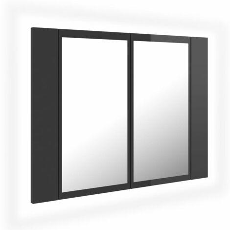 vidaXL LED Bathroom Mirror Cabinet High Gloss Grey 60x12x45 cm - Grey