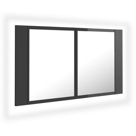 vidaXL LED Bathroom Mirror Cabinet High Gloss Grey 80x12x45 cm - Grey