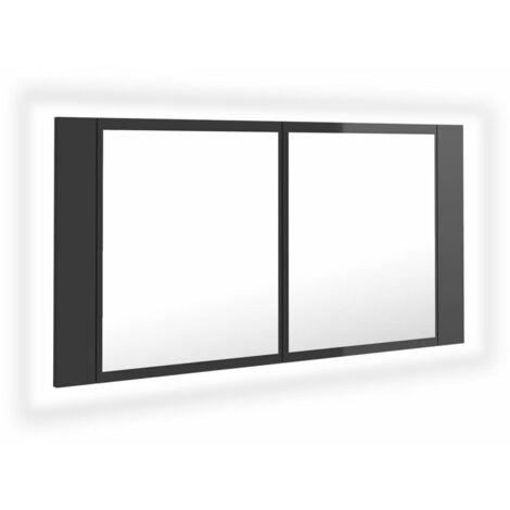 vidaXL LED Bathroom Mirror Cabinet High Gloss Grey 90x12x45 cm - Grey