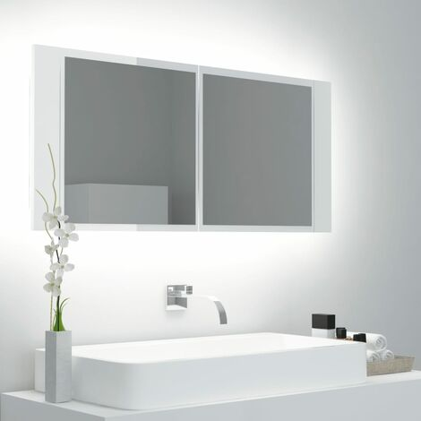vidaXL LED Bathroom Mirror Cabinet High Gloss White 100x12x45cm - White