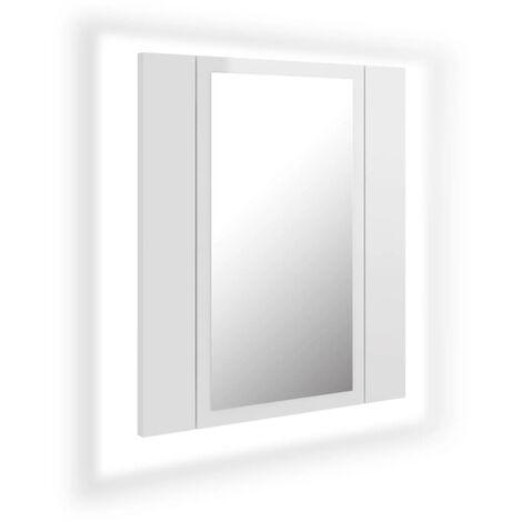 vidaXL LED Bathroom Mirror Cabinet High Gloss White 40x12x45 cm - White