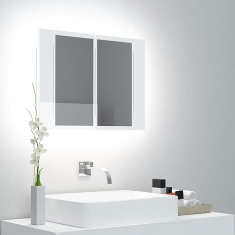 "main image of ""vidaXL LED Bathroom Mirror Cabinet High Gloss White 60x12x45 cm - White"""
