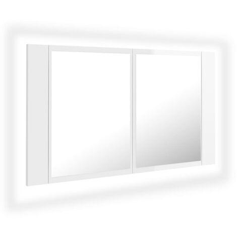 vidaXL LED Bathroom Mirror Cabinet High Gloss White 80x12x45 cm - White