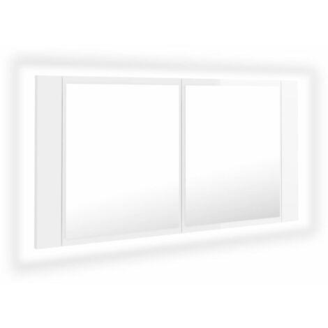 vidaXL LED Bathroom Mirror Cabinet High Gloss White 90x12x45 cm - White