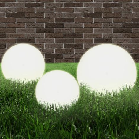 vidaXL LED-Gartenleuchten-Set 3-tlg. Kugelf?rmig 20/30/40 cm PMMA