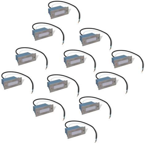 vidaXL LED Recessed Stair Lights 12 pcs 44x111x56 mm - Silver