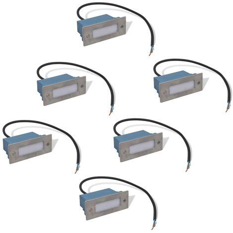 vidaXL LED Recessed Stair Lights 6 pcs 44x111x56 mm - Silver