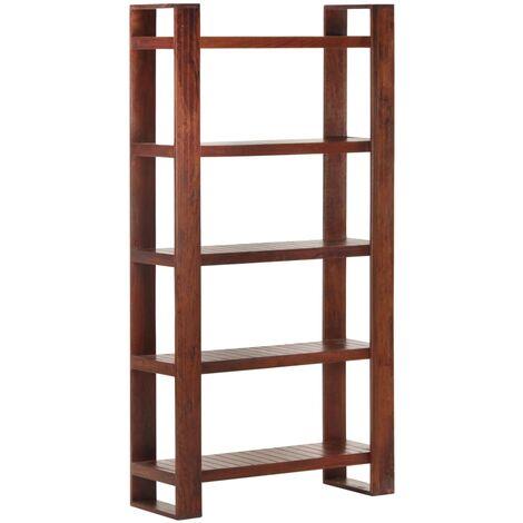 vidaXL Librería de madera maciza de acacia marrón miel 85x30x166 cm - Marrón