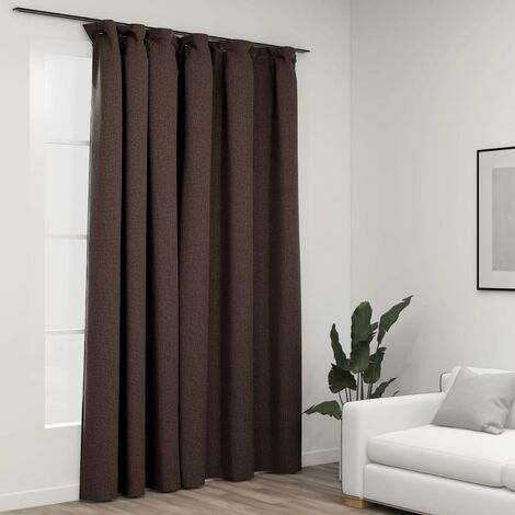 vidaXL Linen-Look Blackout Curtain with Hooks Taupe 290x245 cm - Taupe