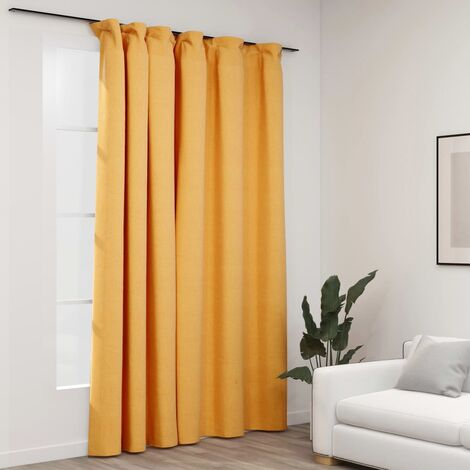 vidaXL Linen-Look Blackout Curtain with Hooks Yellow 290x245 cm - Yellow
