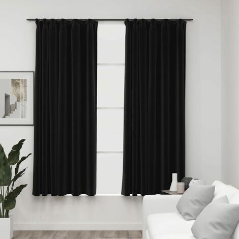 vidaXL Linen-Look Blackout Curtains with Hooks 2 pcs Anthracite 140x175 cm - Anthracite