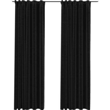 vidaXL Linen-Look Blackout Curtains with Hooks 2 pcs Anthracite 140x225 cm - Anthracite