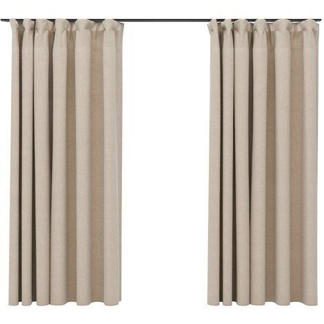 vidaXL Linen-Look Blackout Curtains with Hooks 2 pcs Beige 140x175 cm - Beige