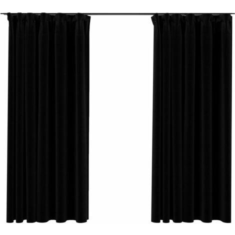 vidaXL Linen-Look Blackout Curtains with Hooks 2 pcs Black 140x175 cm - Black