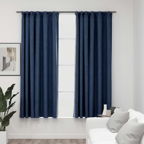 vidaXL Linen-Look Blackout Curtains with Hooks 2 pcs Blue 140x175 cm - Blue