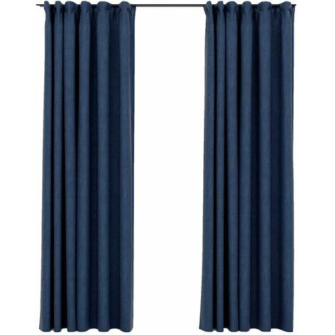 vidaXL Linen-Look Blackout Curtains with Hooks 2 pcs Blue 140x225 cm - Blue